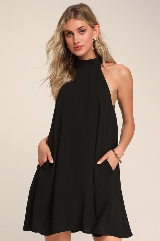 a63d9d117b347 Love of Mine Black Halter Swing Dress