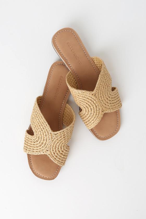 Vintage Sandal History: Retro 1920s to 1970s Sandals Darium Natural Woven Slide Sandal Heels - Lulus $78.00 AT vintagedancer.com