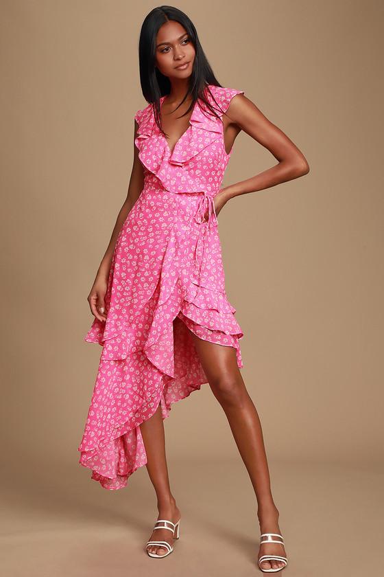 Cornelia Fuchsia Pink Floral Print Ruffled Wrap Midi Dress by Lulus