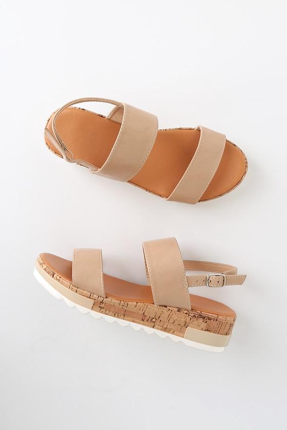 0beec3be6 Cute Nude Sandals - Platform Sandals - Cork Sandals