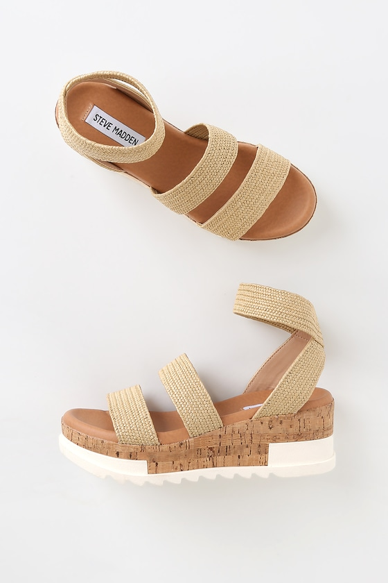 31334683814 Bandi Natural Raffia Platform Sandals