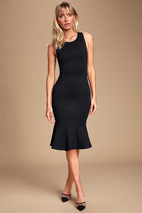Bring The Bubbly Black Trumpet Hem Midi Dress by Lulus
