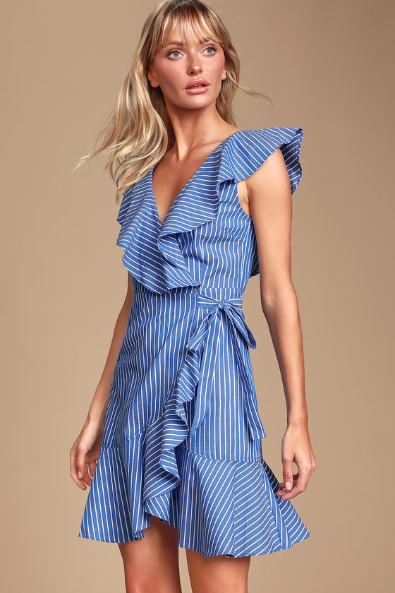 01572e0e111f Cute Striped Dress - Blue Striped Wrap Dress - Ruffled Mini Dress