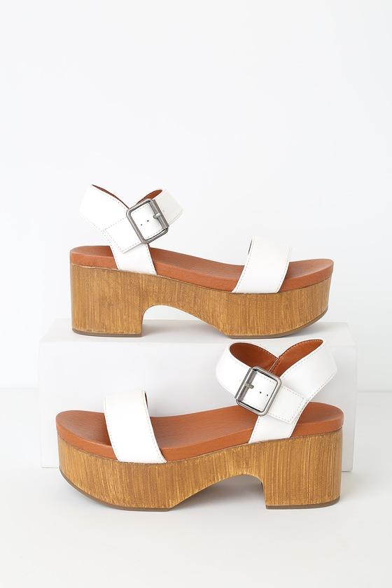 Heels Wooden White Platform Sandals N0oymwv8n Cute Heeled High Ygy6fb7
