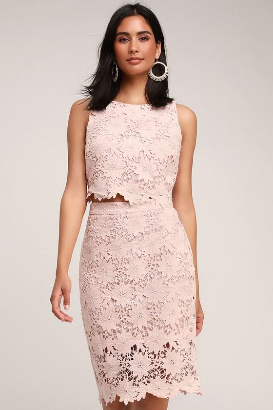 1f0e564ed08e7 Chic Pink Lace Two-Piece Dress - Lace Dress - Two-Piece Dress