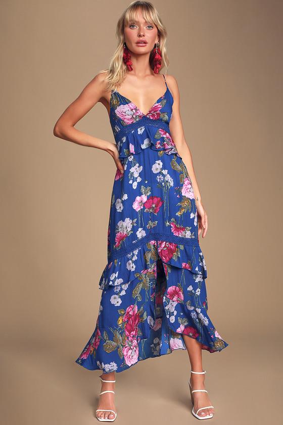 Chloe Royal Blue Floral Print Tie-Back Ruffled Midi Dress