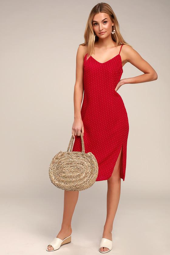 319584a081eae Cute Red Print Dress - Red Slip Dress - Side Slit Dress