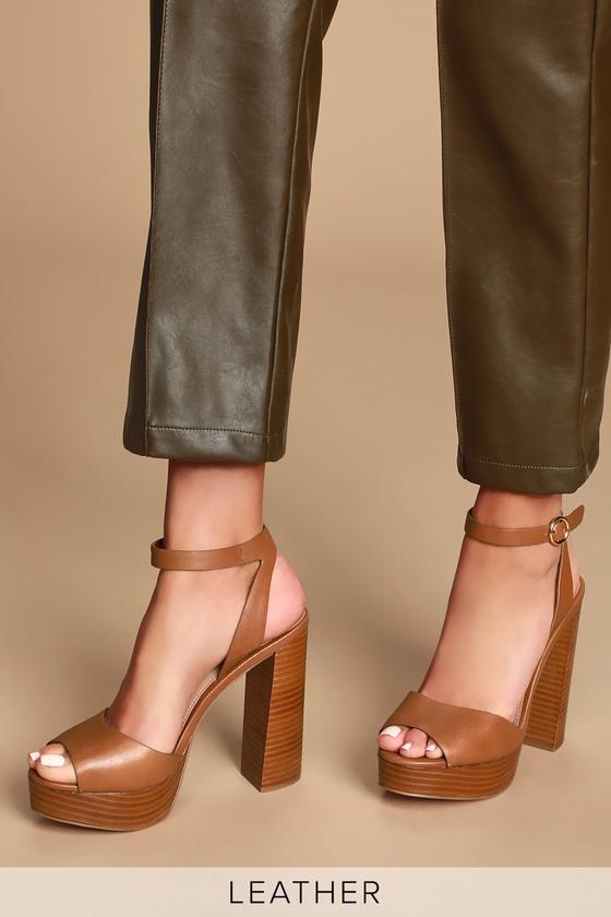 62f43360573 Madeline Cognac Leather Platform Sandals