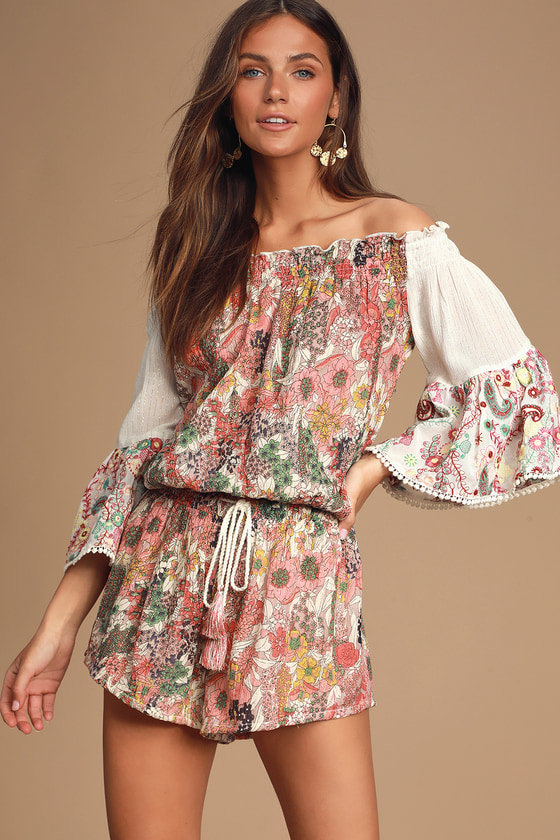 Morrison White Multi Floral Print Off The Shoulder Romper by Raga