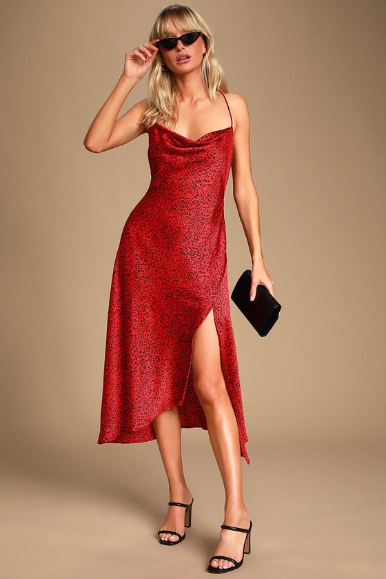 6c69636b3b ASTR the Label Gaia - Red Leopard Print Dress - Midi Slip Dress