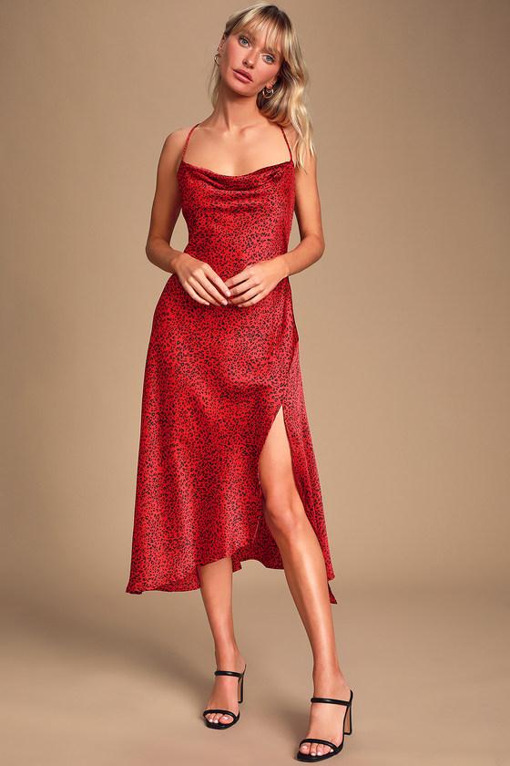 Astr The Label Gaia Red Leopard Print Dress Midi Slip