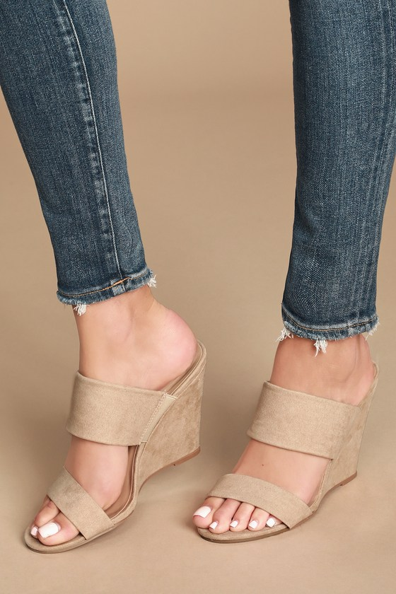 Biava Natural Suede Wedge Sandals by Lulu's