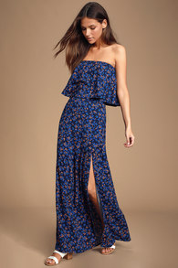 b58228d93505f2 Wandering Wonder Navy Blue Floral Print Button-Front Maxi Skirt