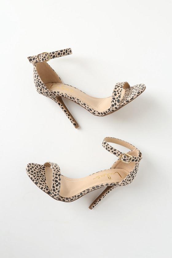 1f6840efa Cute Cheetah Heels - Single Strap Heels - Vegan Suede Heels