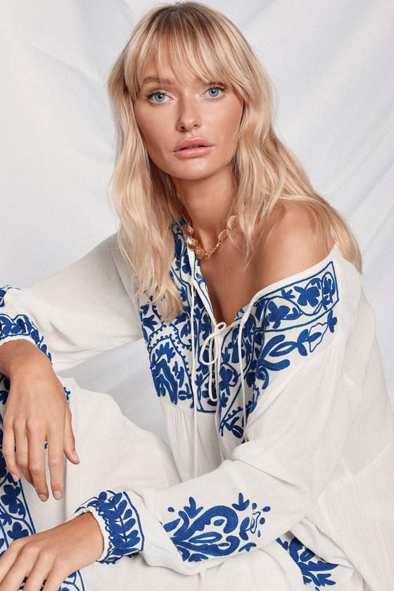 9e7a062bb0 Boho Blue and White Cover-Up - Embroidered Swim Cover-Up - Maxi