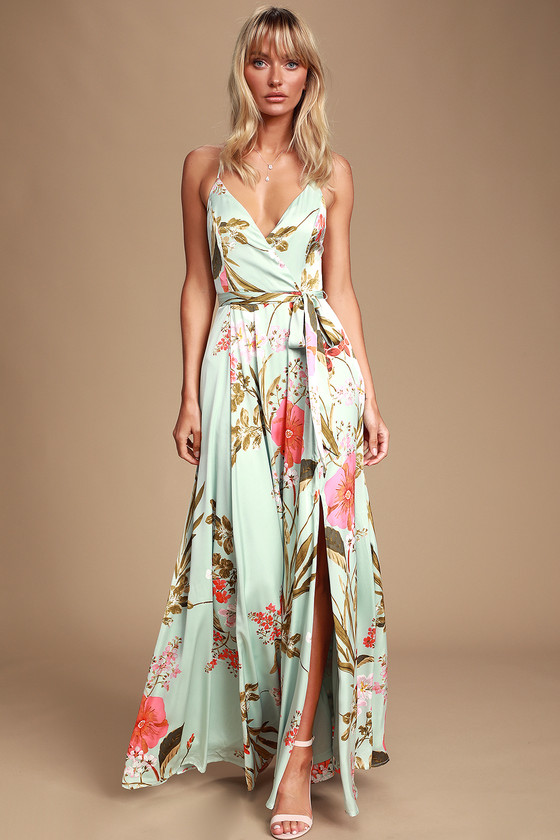 87a69dcac8ddc Still the One Sage Green Floral Print Satin Maxi Dress