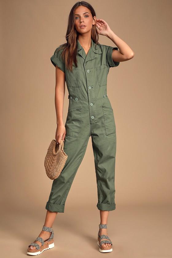 Grover Olive Green Short Sleeve Denim Jumpsuit by Pistola
