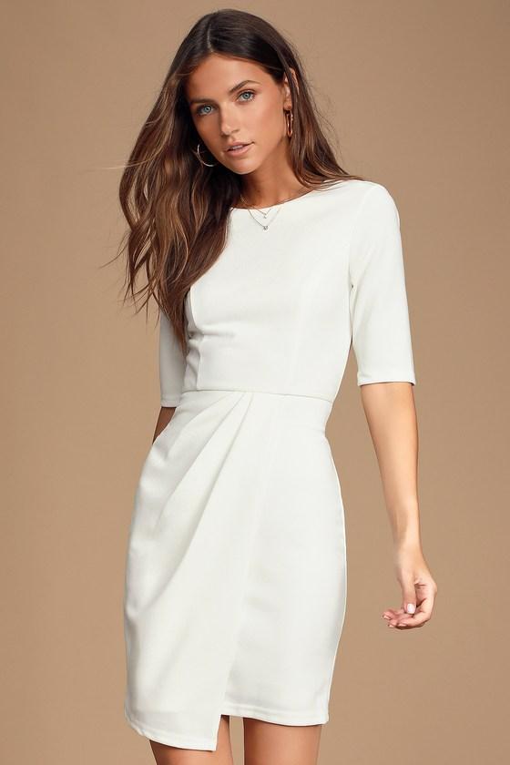 Westwood White Half Sleeve Sheath Dress by Lulus