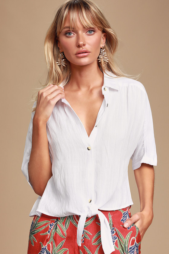 Tehama White Button Up Blouse by Lulus