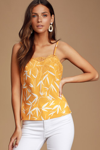 b02ff921 Totally Irresistible Golden Yellow and White Print Lace Cami Top