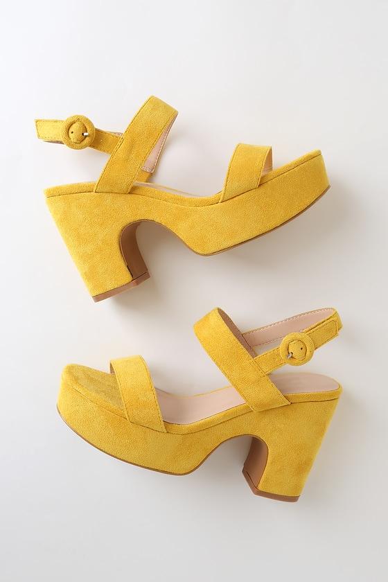 Chunky Yellow Sandals - Platform