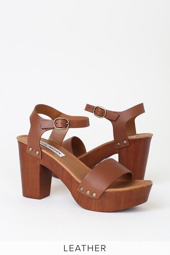 ebd5bbc5a7c Luna Tan Leather Wooden Platform Sandals