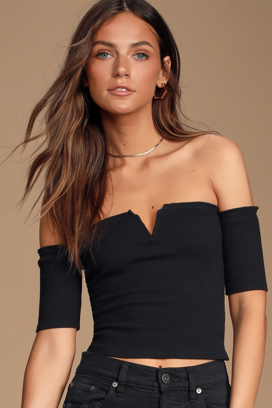 3af7c2c27af Cute Black Top - Off-the-Shoulder Top - Crop Top - Ribbed Top