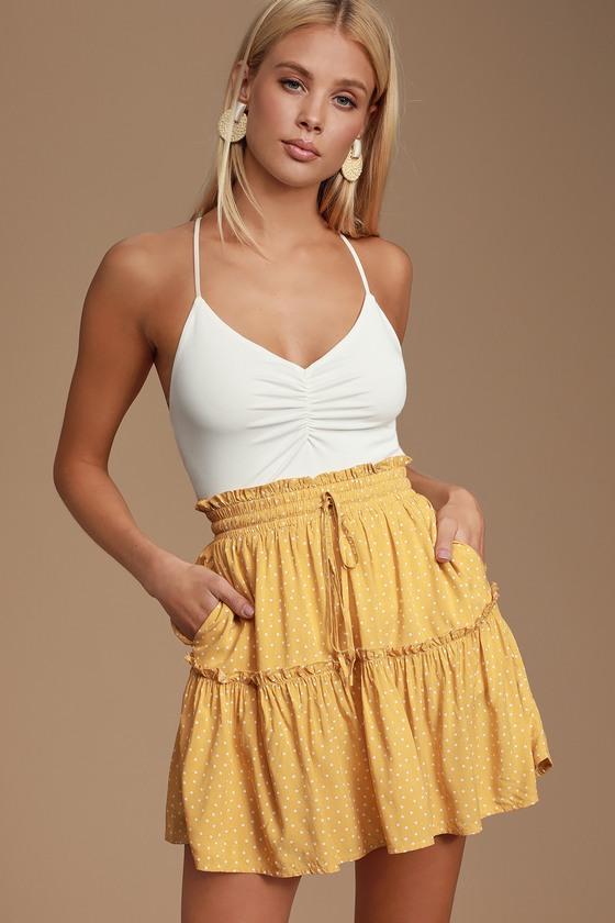 8da0baddc4 Call You Mine Mustard Yellow Polka Dot Ruffled Mini Skirt