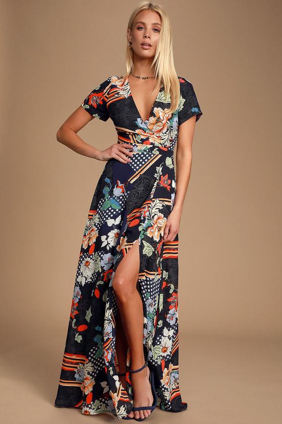 d18d1fc1a115 Navy Blue Print Dress - Short Sleeve Dress - Maxi Dress
