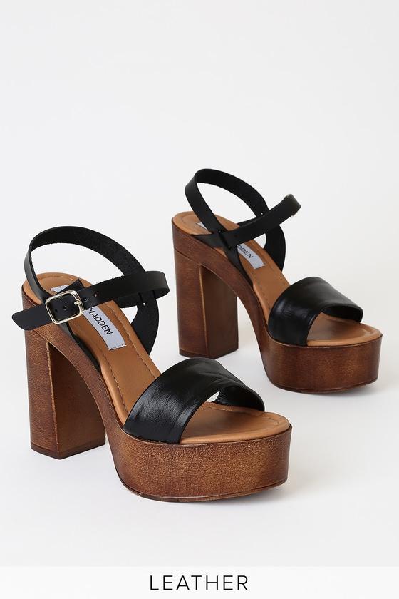 Laurisa Black Leather Wooden Platform Heels by Steve Madden
