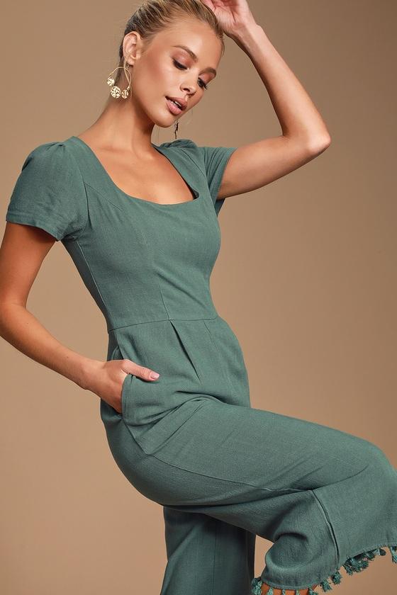 5951e7c2069d Cute Olive Green Jumpsuit - Tassled Jumpsuit - Culotte Jumpsuit