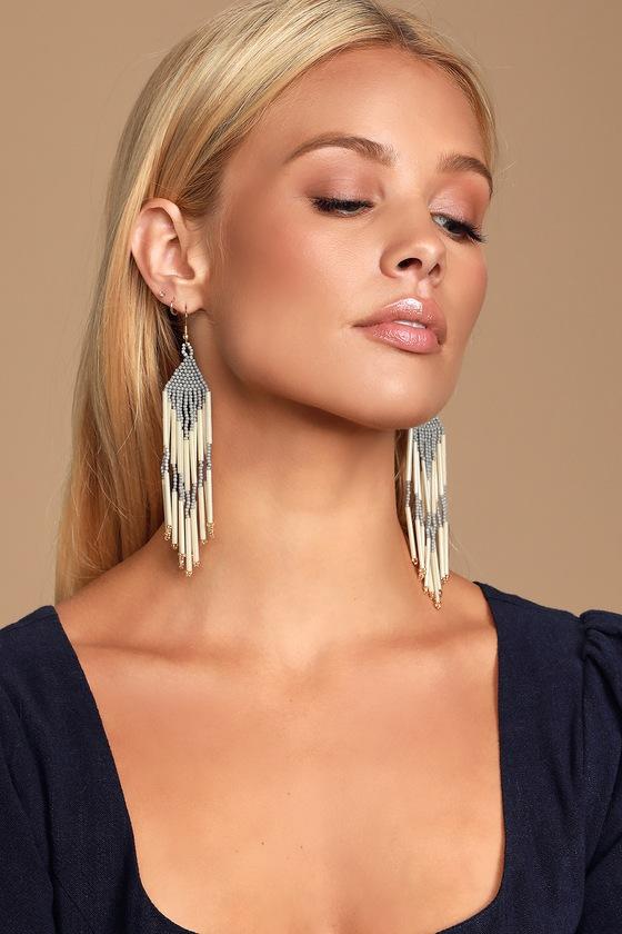 60s -70s Jewelry – Necklaces, Earrings, Rings, Bracelets Adalina Grey and Ivory Beaded Tassel Earrings - Lulus $14.00 AT vintagedancer.com