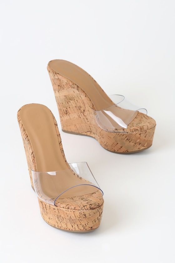 Clear and Cork Wedges - Platform Wedges
