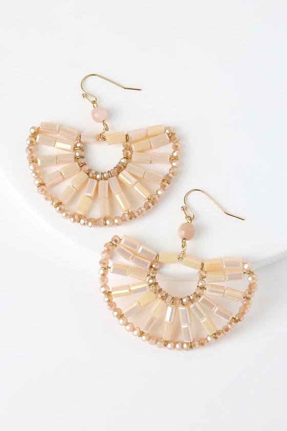 60s -70s Jewelry – Necklaces, Earrings, Rings, Bracelets Mesmerized Champange Beaded Fan Earrings - Lulus $26.00 AT vintagedancer.com