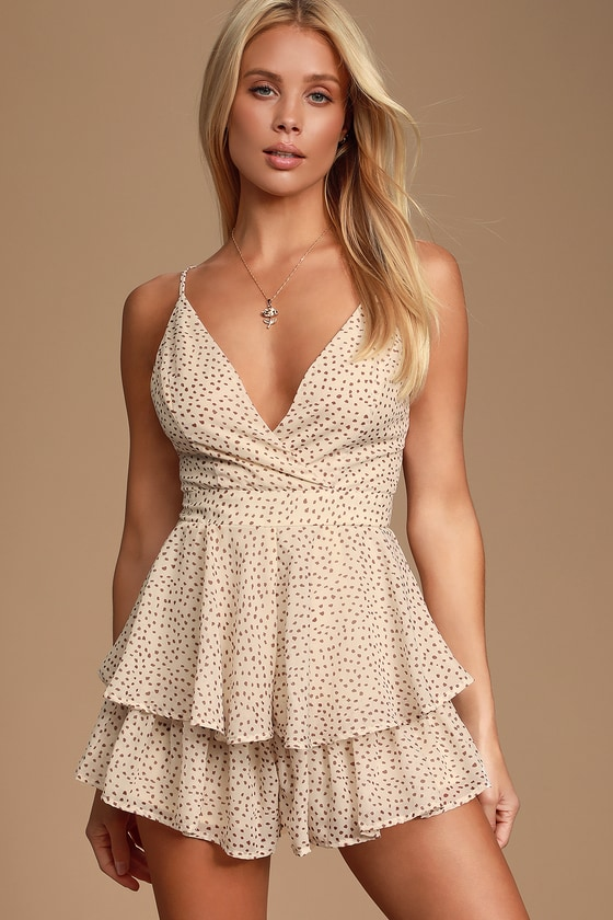 Clarisa Cream and Taupe Polka Dot Ruffle Romper - Cute Polka Dot Outfits