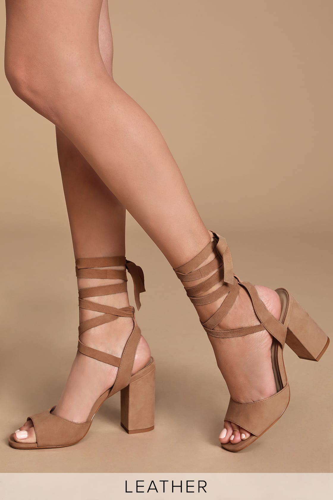 Kenny Camel Nubuck Leather Lace Up Heels by Steve Madden