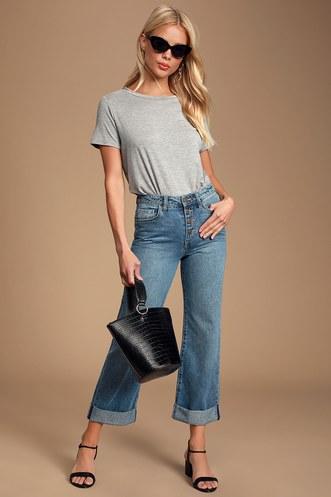 409077c3d4 Mischa Medium Wash High-Waisted Button-Fly Boyfriend Jeans