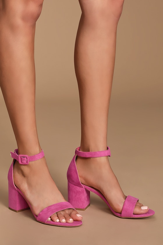 5e37f93895e Jody Rose Pink Suede Ankle Strap Heels