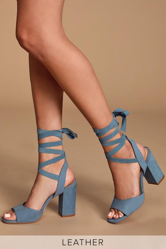 Steve Madden Kenny - Blue Lace-Up Heels