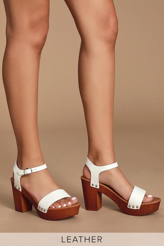 ae8f79cd058 Luna White Leather Wooden Platform Sandals