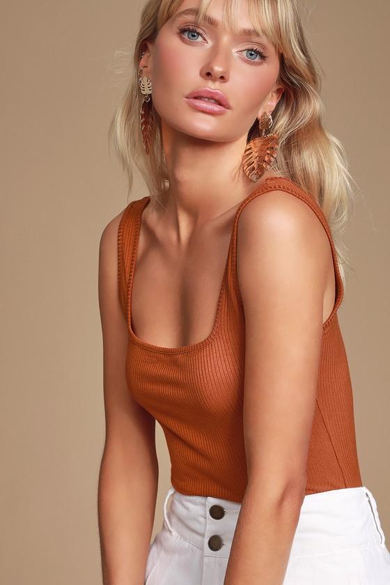 Alita Rust Orange Ribbed Sleeveless Bodysuit by Lulus Basics