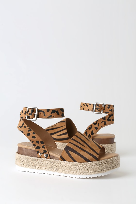 Cute Animal Print Sandals - Espadrille