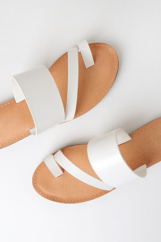 Wanda White Toe Loop Slide Sandals by Lulu's
