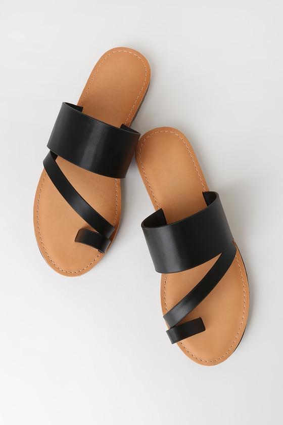 Cute Black Sandals - Toe-Loop Sandals