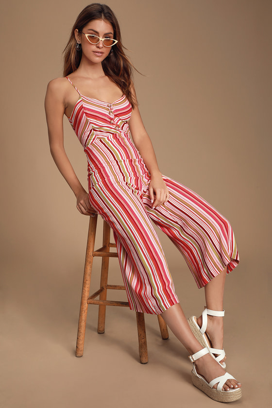 Celina Fuchsia Multi Striped Tie Back Culotte Jumpsuit by Lulus