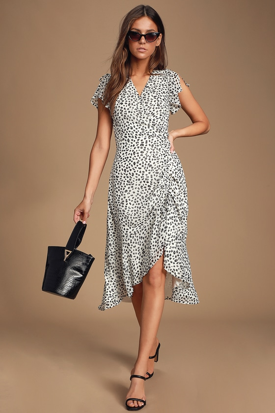 1232ad47257c Black and White Leopard Print Dress - Midi Dress - Ruched Dress