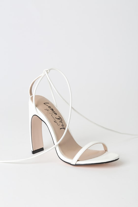 9a160cffc23 Lucci White Lace-Up Heels