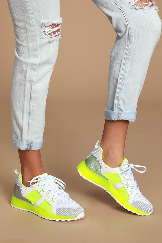 Cute Neon Yellow Sneakers - Knit