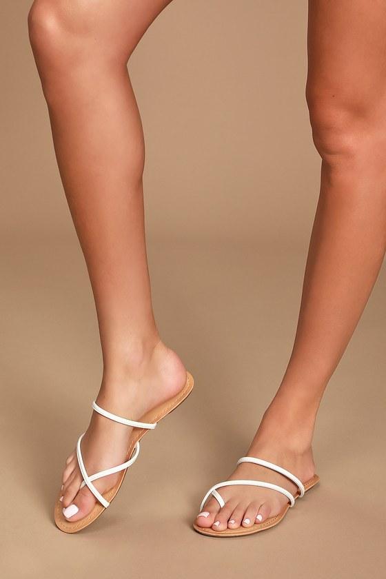 Cute White Sandals - Toe-Loop Sandals