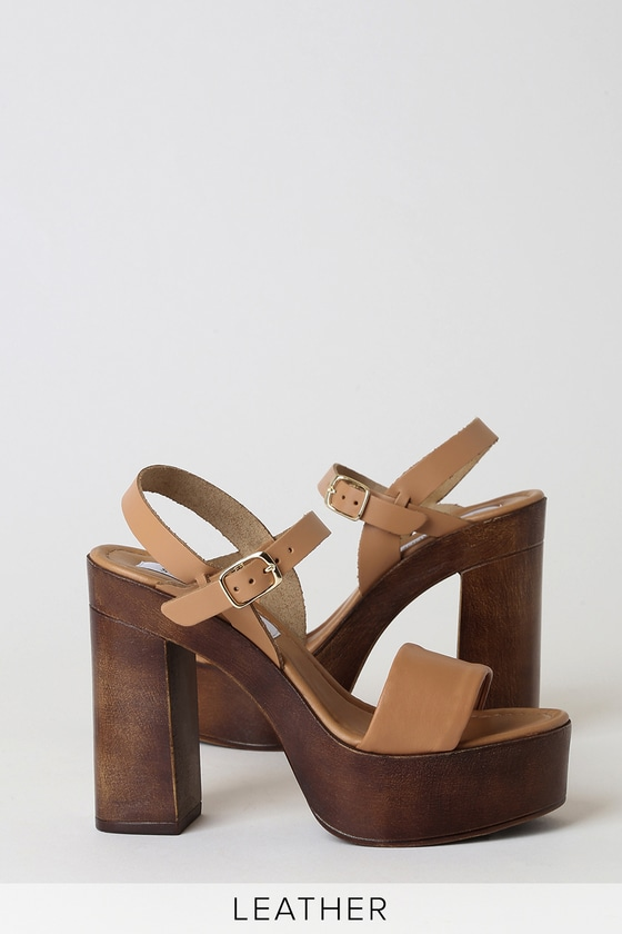 Laurisa Tan Leather Wooden Platform Heels by Steve Madden